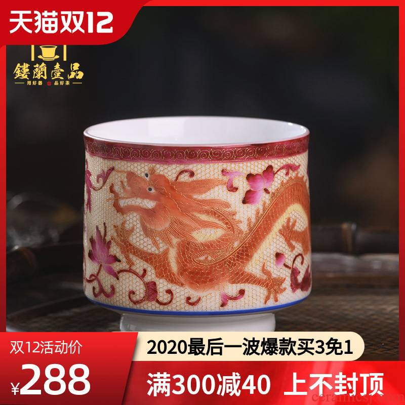 Jingdezhen ceramic cups pure manual dragon cup personal cup masters cup single CPU wire inlay enamel see colour tea cups