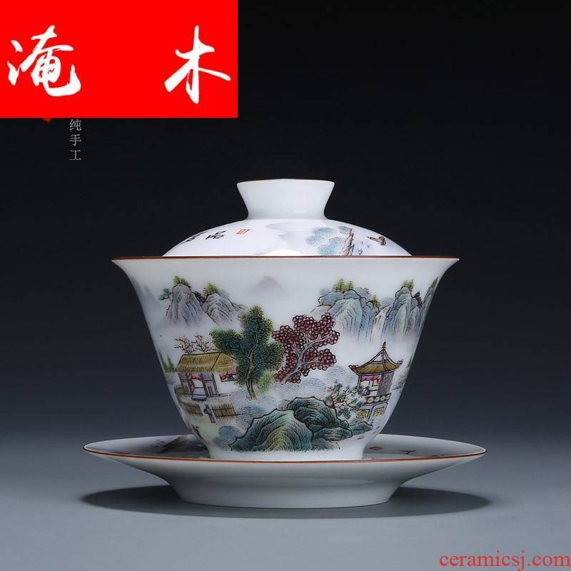 Submerged wood pastel landscape was only three bowl of jingdezhen ceramic tureen of pure manual hand - made tea bowl of tea