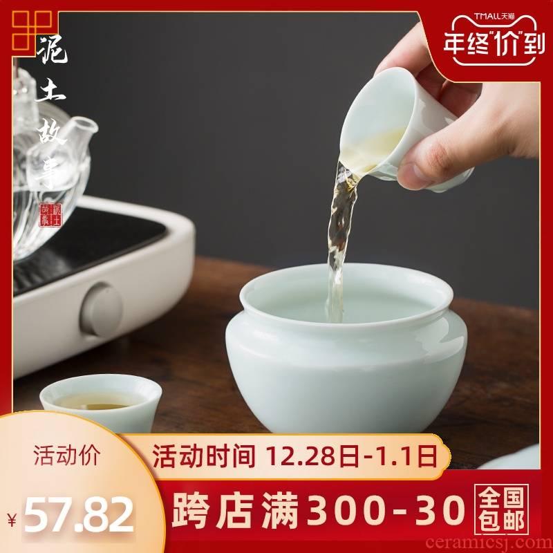 Jingdezhen ceramic water jar for wash your small home building ceramic cup tea in hot water basin of Japanese zen tea restoring ancient ways