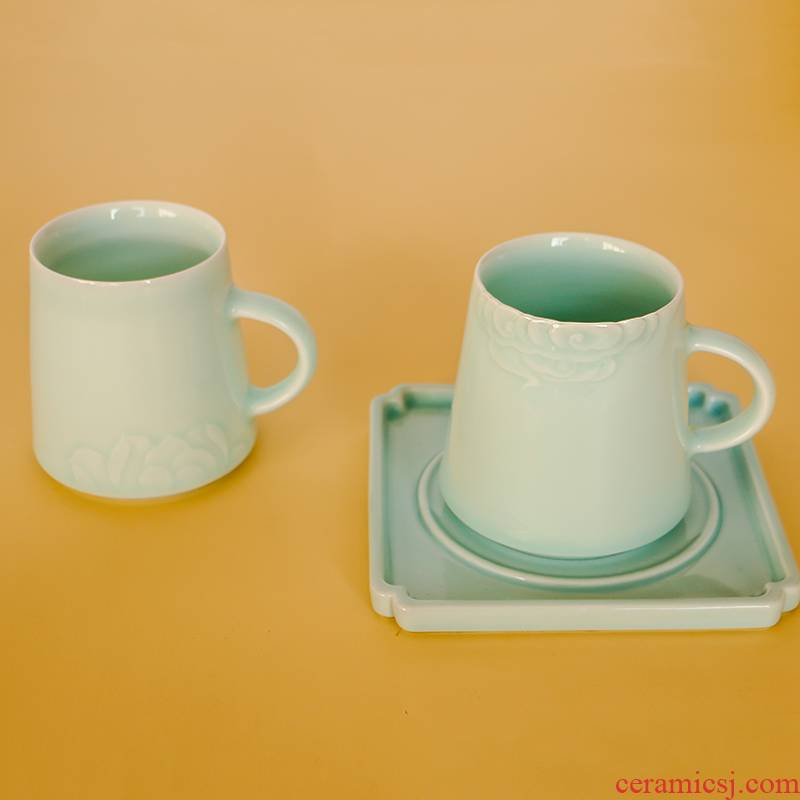 Manual its shadow green ceramic cup xiangyun expressions using edge creative office tea cup mark cup, valentine gift cup