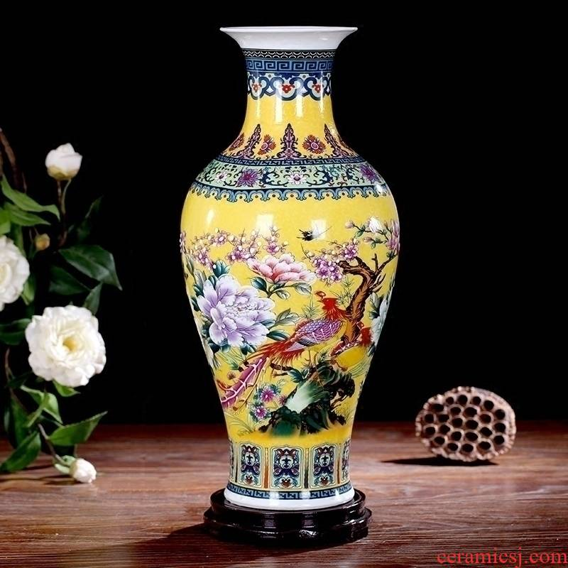 Mesa of jingdezhen ceramic vase colored enamel Chinese antique household flower adornment handicraft office furnishing articles