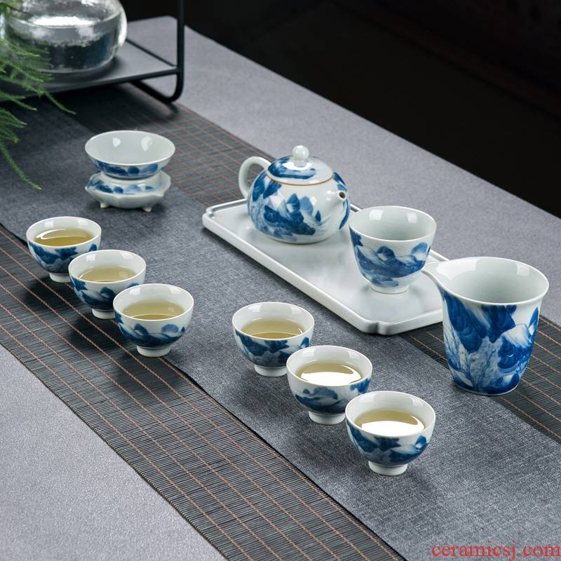 Make tea tea set home sitting room office receive a visitor jingdezhen blue and white porcelain hand - made ice to crack the teapot teacup