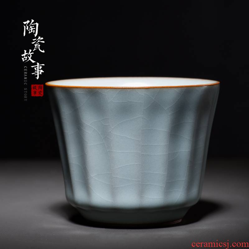 Ceramic story handed down your trade, one cup of vertical stripes cup manually high - grade slicing can keep sample tea cup single cup gift box