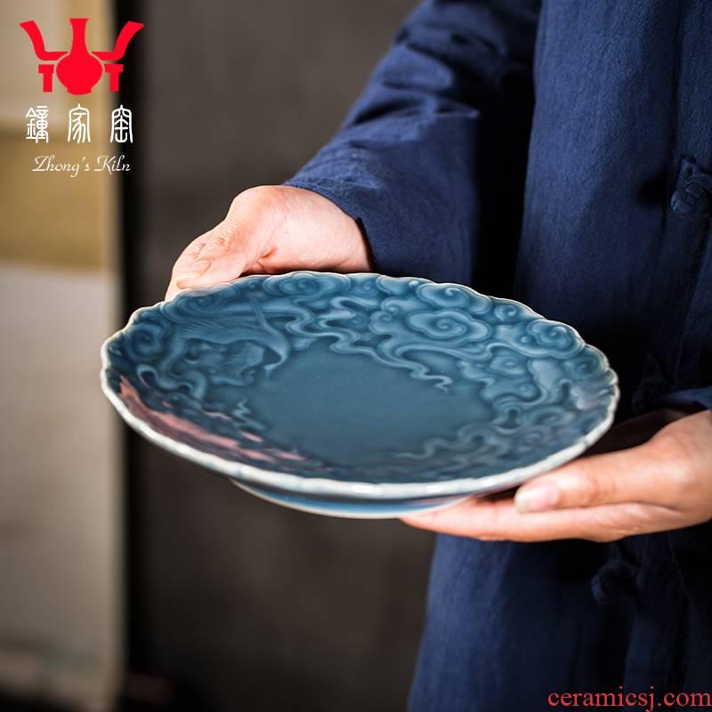 Clock home bearing dry up pot mercifully round pot of jingdezhen ceramics adopt it pad manual small tea pot of tea bearing
