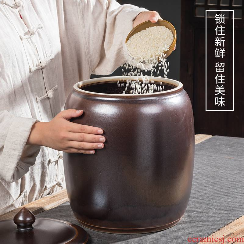 Jingdezhen ceramic barrel household with cover sealed container insect - resistant 30 jins of 50 kg 100 jins flour storage tank