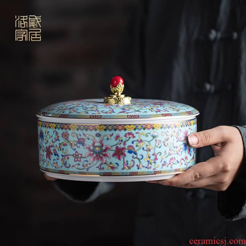 The colored enamel caddy fixings jingdezhen ceramic seal pot of tea cake storage tanks boutique gift boxes aneroid jar