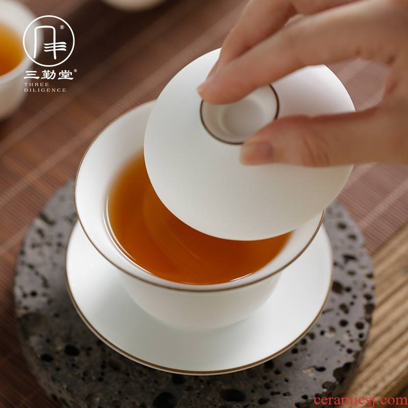 The three frequently tureen handless small jingdezhen ceramic cups kung fu tea set up with white three bowl S11008 cups