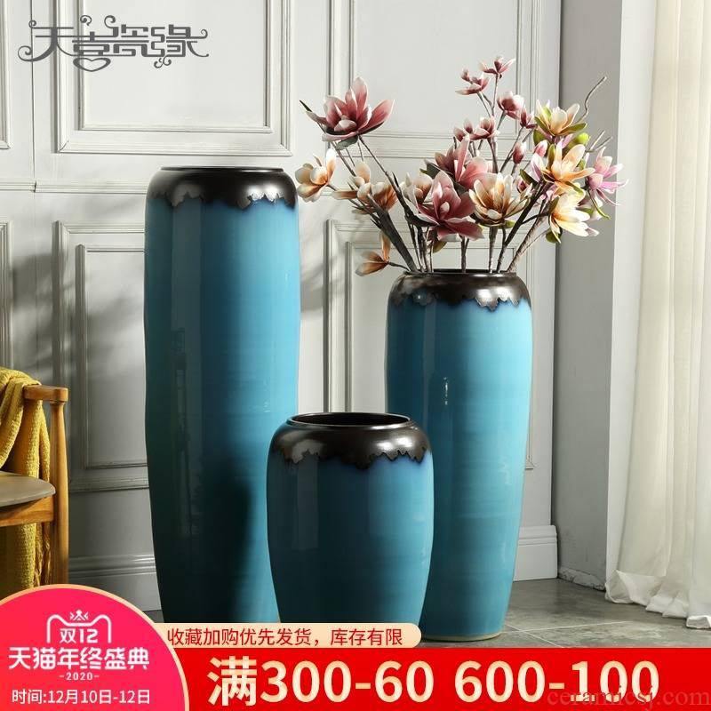 Ground vase furnishing articles European - style flower arranging device hydroponic flower pot sitting room hotel villa ceramic POTS large ornament