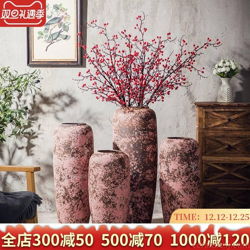 Ground vase retro checking ceramic large furnishing articles furnishing articles of Chinese style decorates porch TV ark, courtyard in the vase