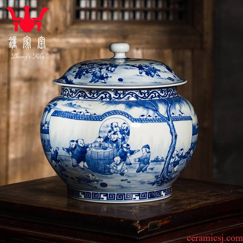 Clock home up with jingdezhen ceramic large tea cake caddy fixings sealed tank storage tanks blue - and - white maintain figure receives the ancient philosophers