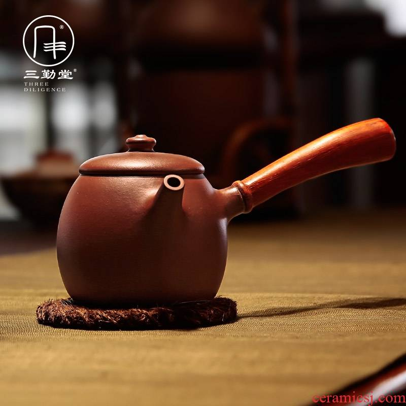 Three frequently hall tea yixing teapot masters all hand it undressed ore ship purple clay side pot teapot