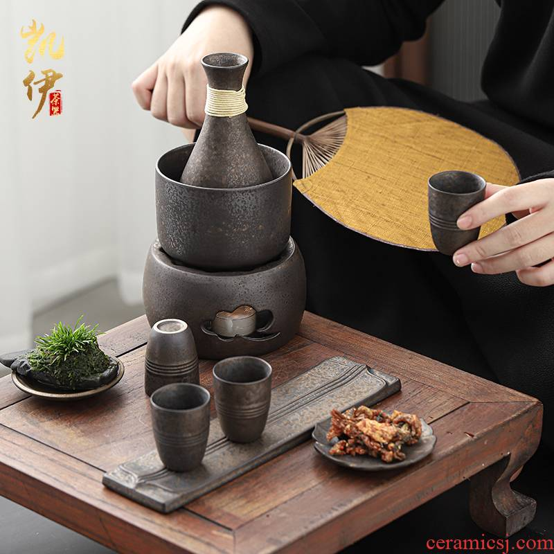 Gold ceramic wine warm boiled hot hip household rice wine wine warm wine pot liquor wine wine suits for