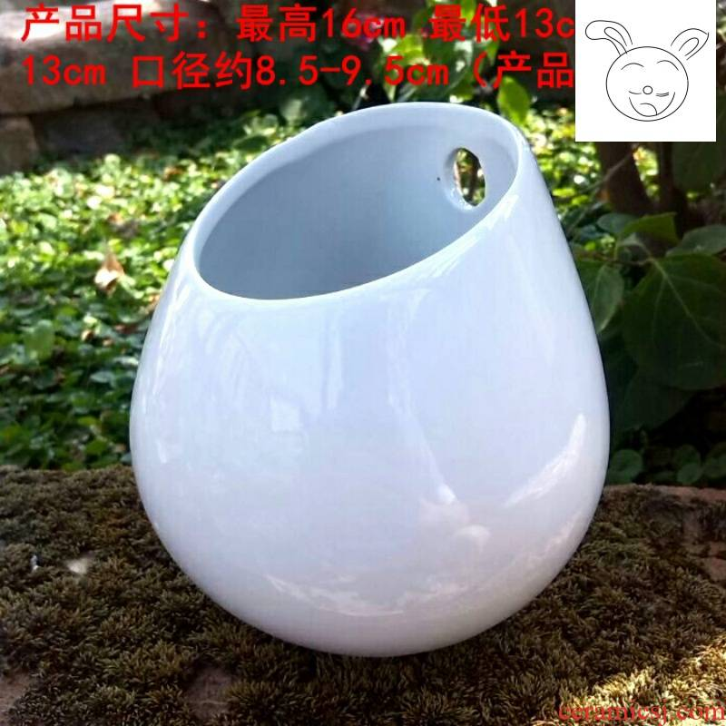 The New fashion creative hang a basin of water droplets hanging POTS hanging wall fleshy ceramic flower pot contracted white hanging large pot