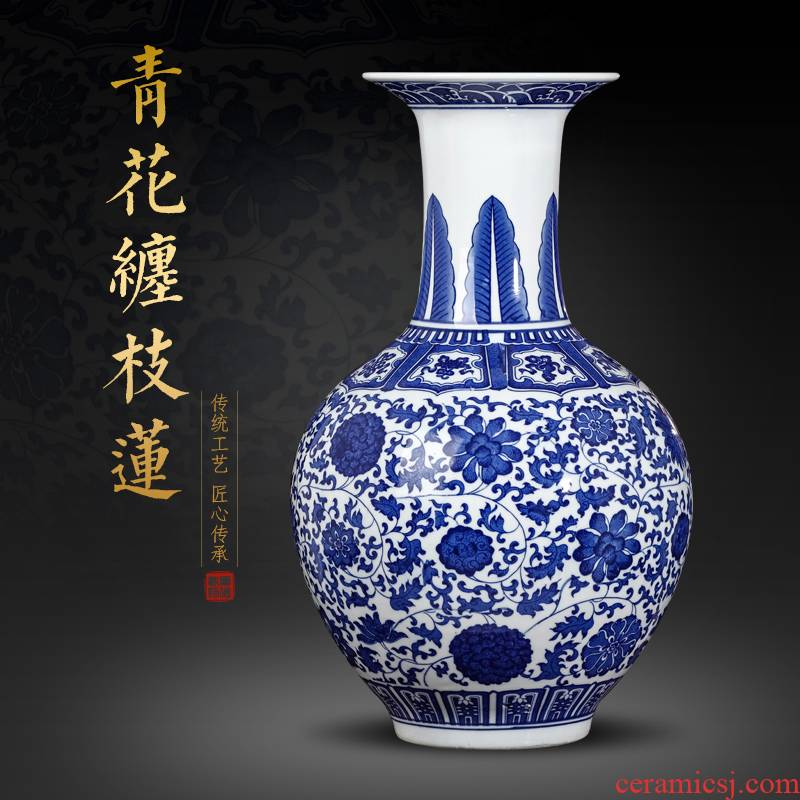 Jingdezhen ceramics antique blue and white porcelain vases, flower arrangement furnishing articles of Chinese style classical large sitting room porch decoration