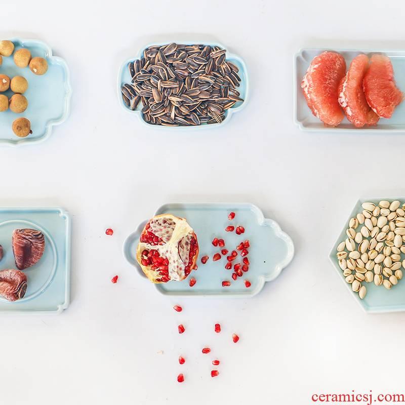 Modern Chinese style flower design creative ceramic bowl polygon Windows desktop tea table of fruit snacks dry fruit tray