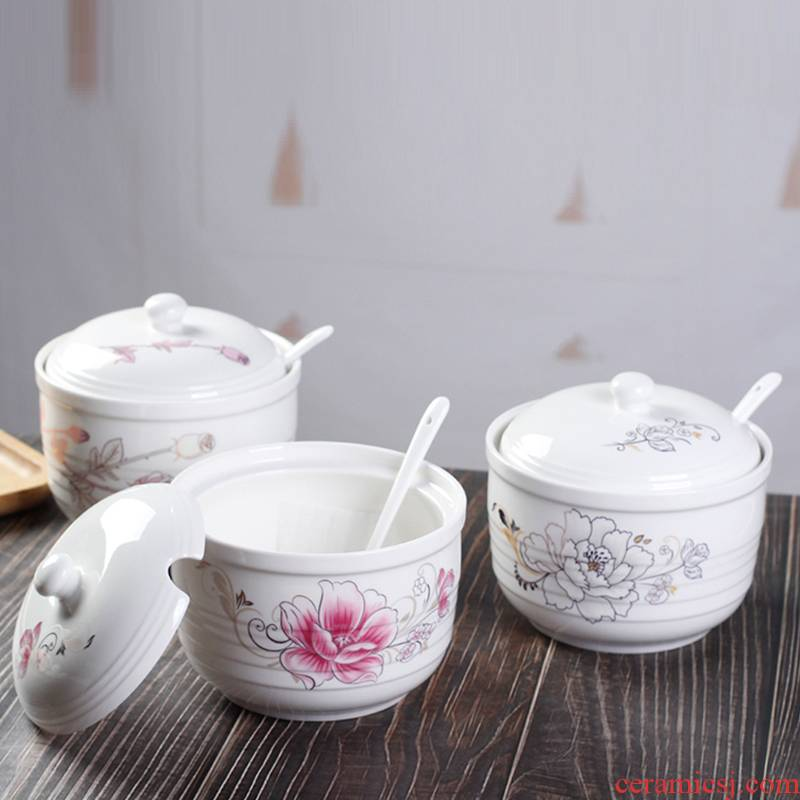 High temperature resistant household with cover as the hot pepper oil seasoning salt can candy as cans ceramic pot kitchen to taste
