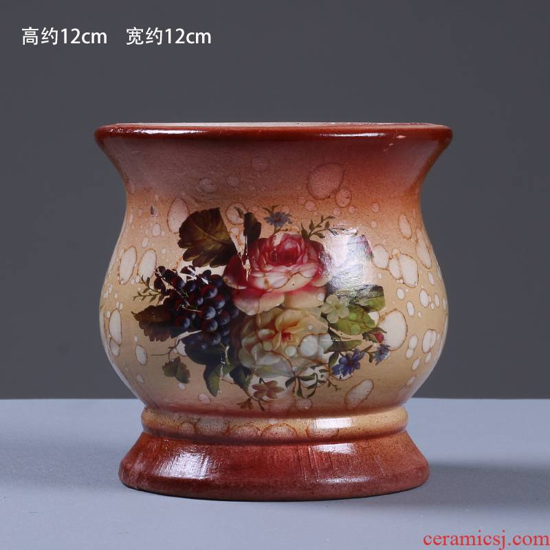 To embellish European ceramic creative furnishing articles pottery blue and white porcelain vase of large thick TaoHua I and contracted porcelain