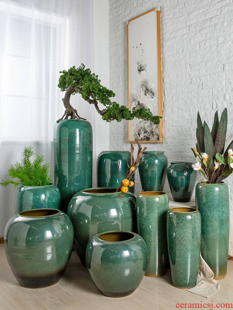 I and contracted jingdezhen ceramic vase sitting room dry flower flower arranging hotel creative household furnishing articles pottery decoration