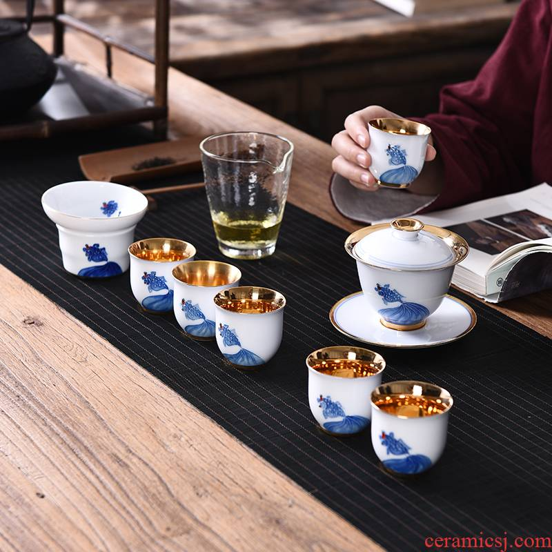 Ceramic hand - made gold tea suit household tureen of pure gold cup office kung fu tea set a complete set of gift boxes