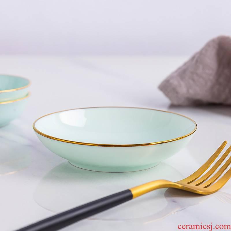 Ceramic celadon up phnom penh hotel snack dishes household soy sauce dish flavor dish of sauce vinegar dip bowl dish ipads porcelain tableware