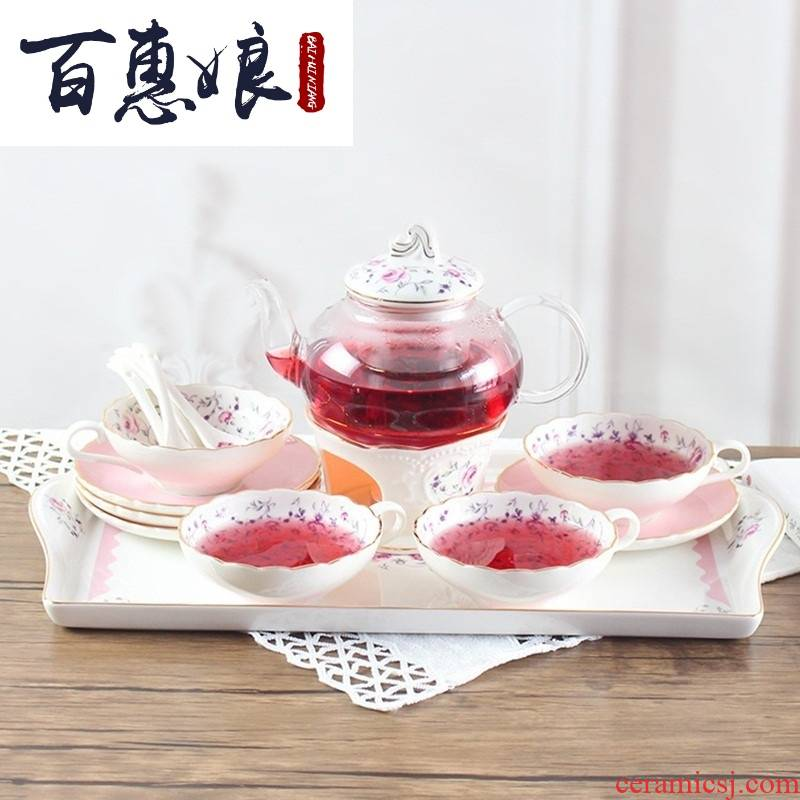 (niang scented tea tea set tea ceramic teapot with heating base heat - resistant glass tea cooked fruit tea in the afternoon
