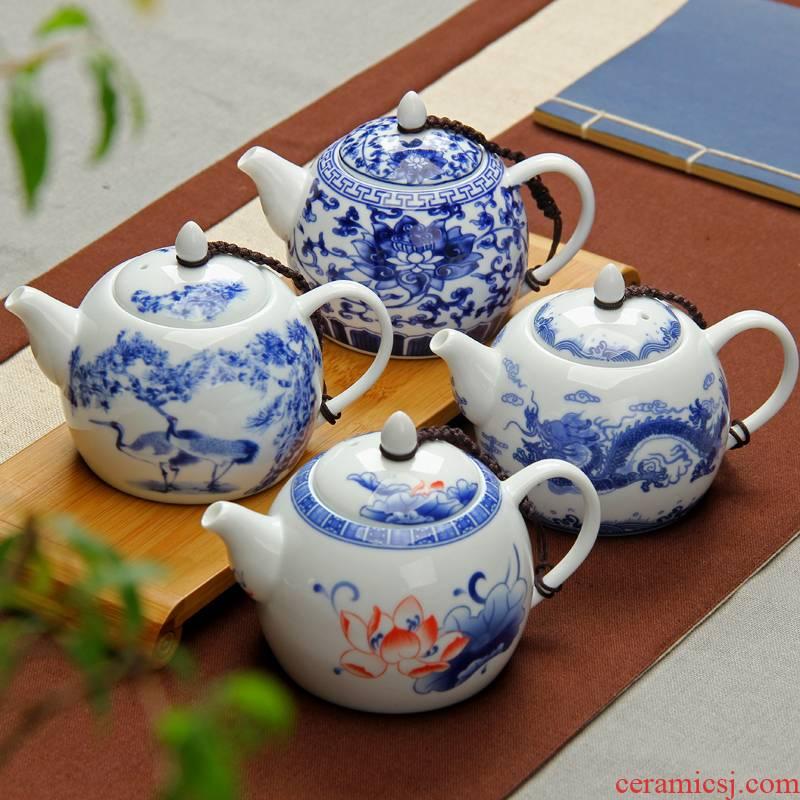 Ceramic teapot jingdezhen blue and white porcelain little teapot kung fu tea set single pot of 280 ml high white CiHu household pot