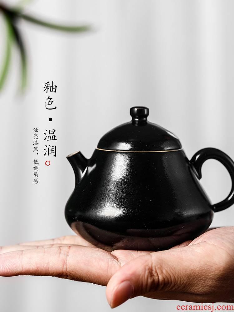 Jingdezhen ceramic teapot Chinese trumpet kunfu tea teapot all hand high temperature color glaze ball hole, single pot