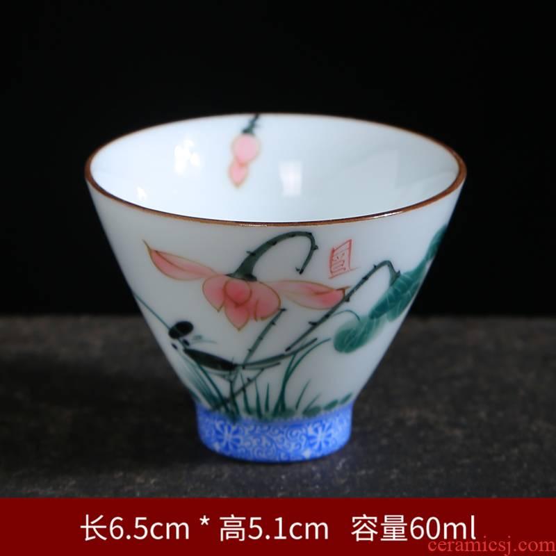 Hand made lotus ceramic tea cups sample tea cup master cup single CPU kung fu tea cups