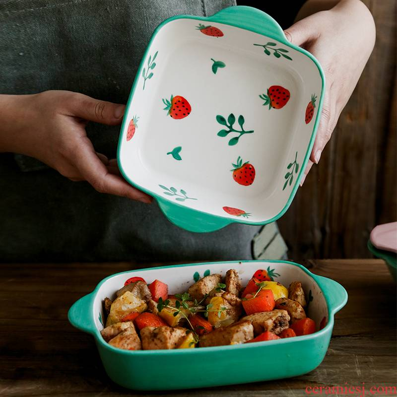 Lovely strawberry pan ceramic household ears paella lasagna baking pan with microwave oven