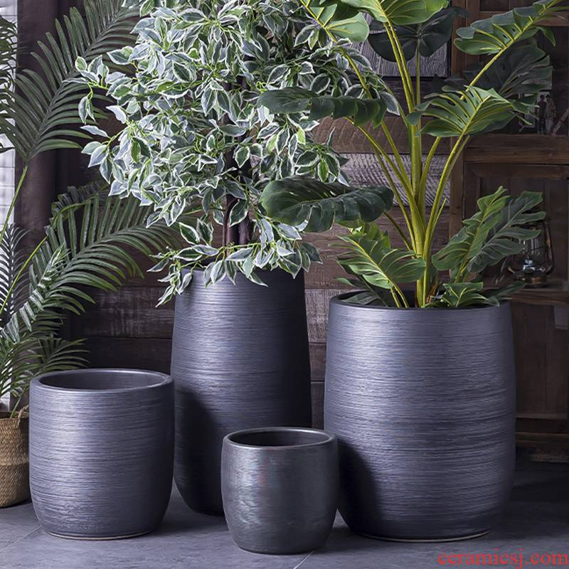 Nordic flowerpot I and contracted vase black ceramic green plant hydroponic POTS of large diameter cylinder indoor plant decoration