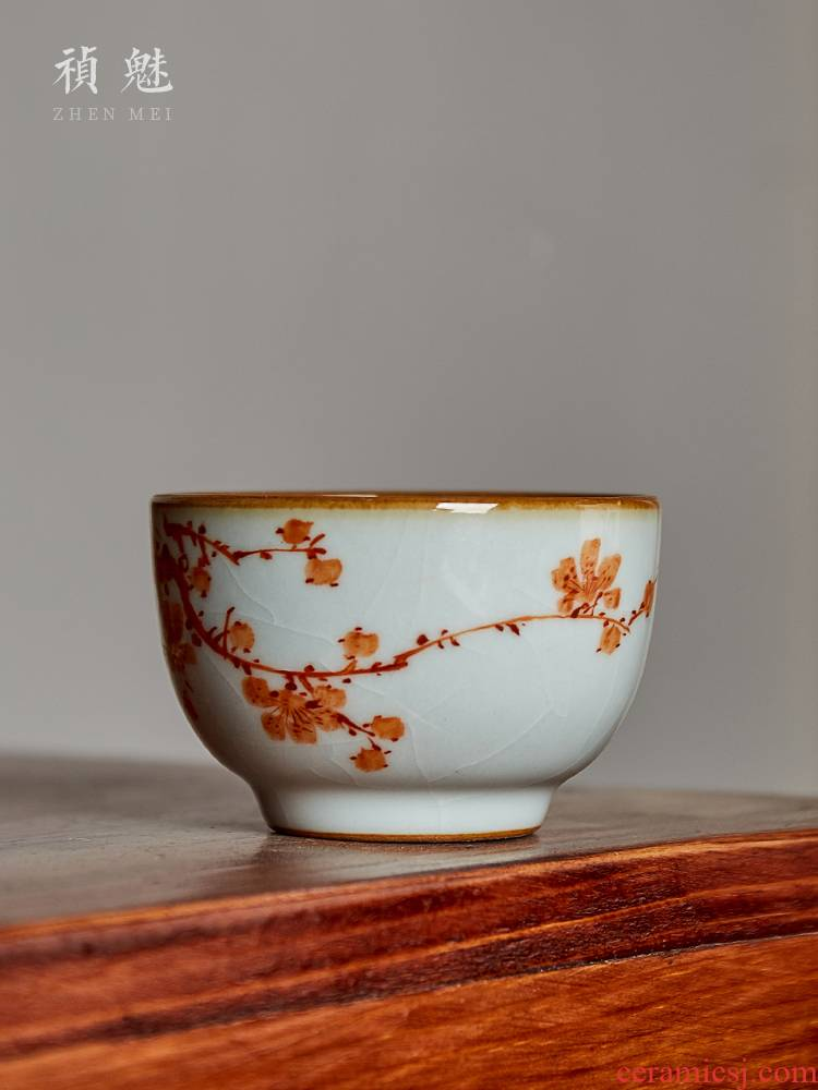 Shot incarnate your up hand - made double the qing jingdezhen ceramic cups the name plum and the bamboo kung fu tea master sample tea cup cup single CPU