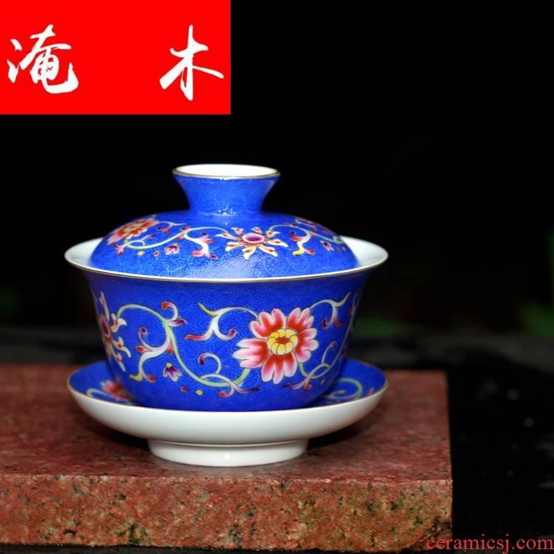 Submerged wood grilled hand - made pastel flowers tureen three bowl bowl jingdezhen ceramic cups kung fu tea worship