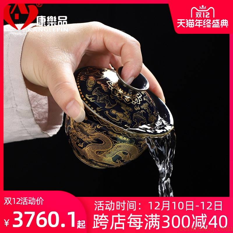 Recreational product jingdezhen tureen large silver cover cup of pure hand - made Jin Longsan tureen restoring ancient ways of tea, tea bowl of tea set