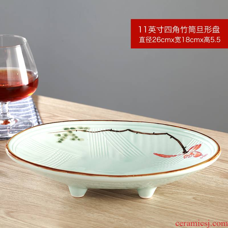 Ceramic glaze lotus characteristic hotel hotel plate artistic conception operation of cold dish dish fruit salad
