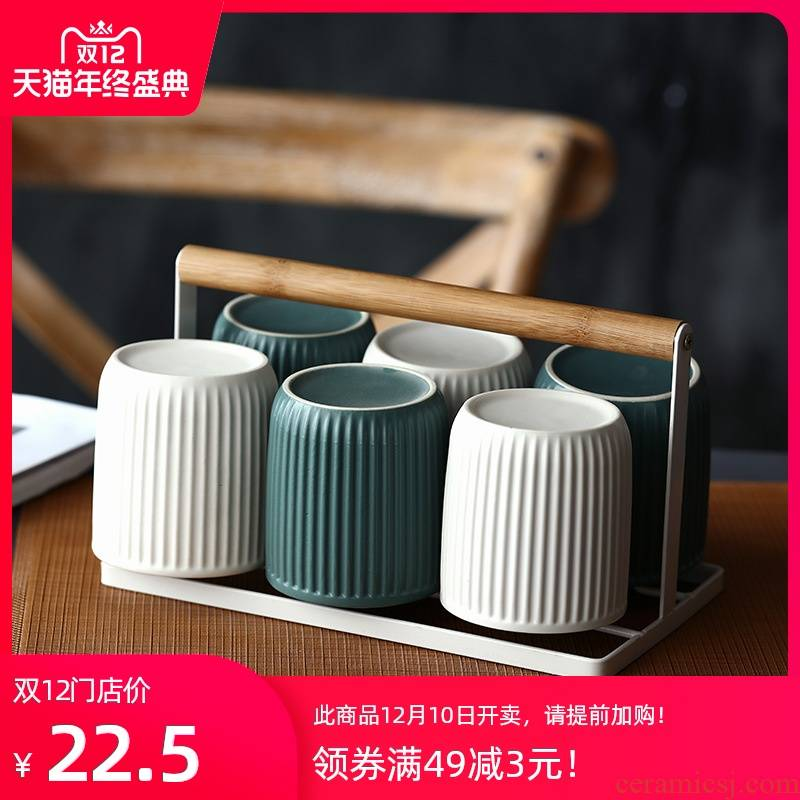 Northern wind household ceramic cup suit restaurant Japanese hotel lovers toothbrush cup of cylindrical cups with the cups