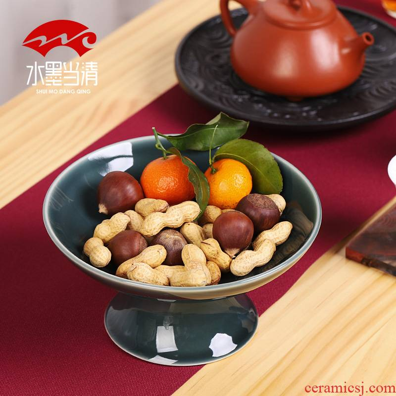 Ceramic high web celebrity fruit bowl creative modern household snack plate contracted sitting room tea table vintage Japanese dishes