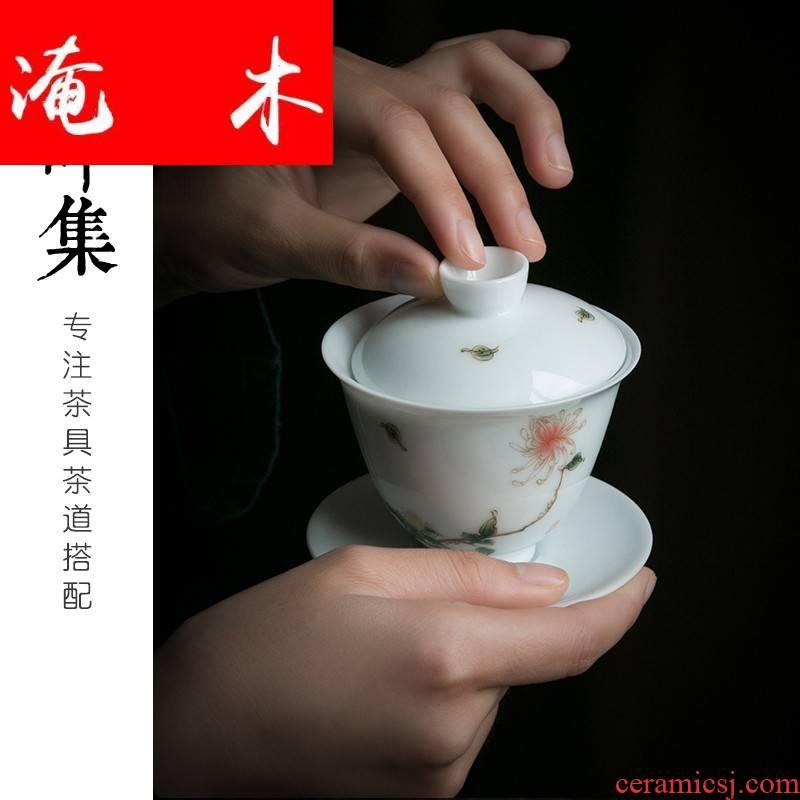Submerged wood kung fu tea set three to tureen dehua white porcelain of jingdezhen pastel by large tea bowl of tea cups