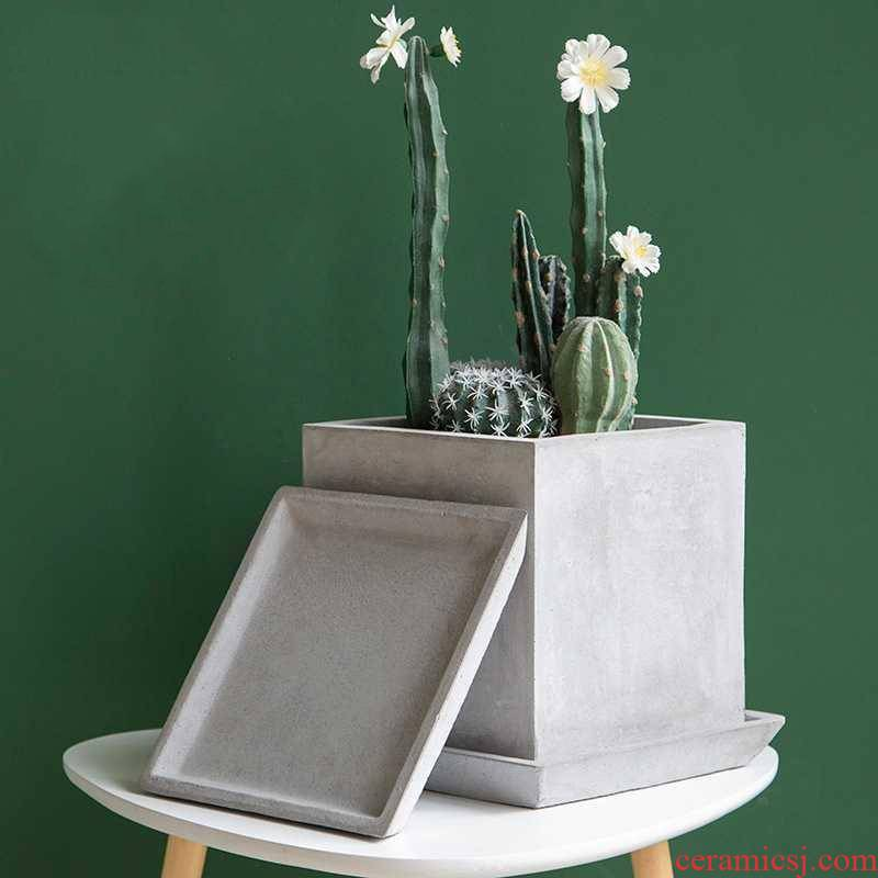 Is suing fleshy green plant square cement flowerpot tray magnesium mud receptacle base mat contracted Nordic style