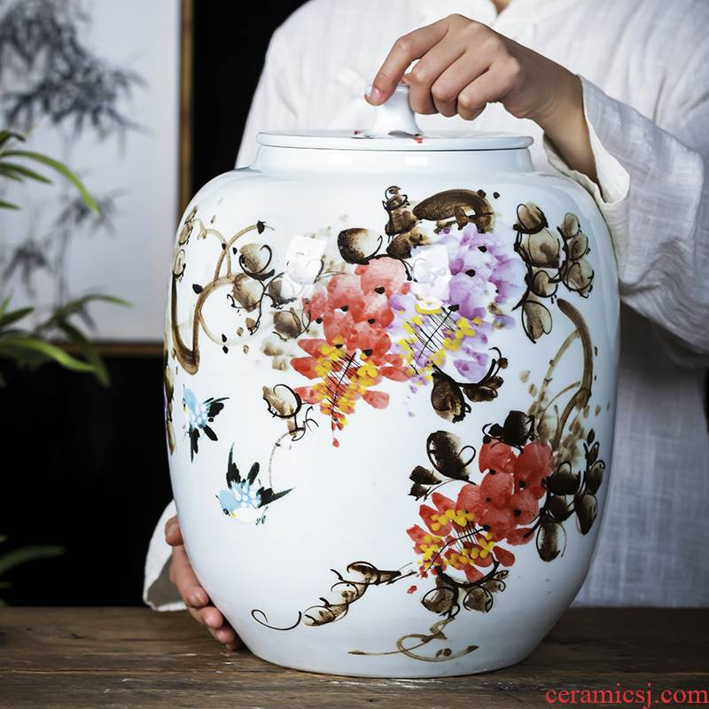 Jingdezhen porcelain ceramic hand - made caddy fixings large seal tank puer tea cake tin barrel with cover pot