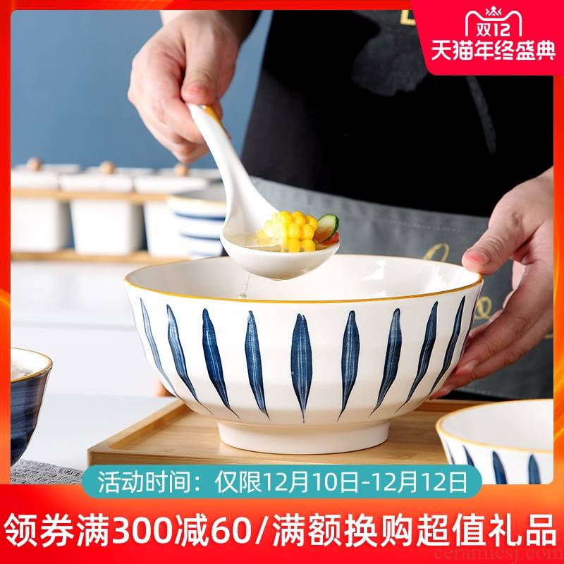 Jingdezhen ceramic bowl household tureen large creative move web celebrity glaze color tableware under a single salad bowl such as always
