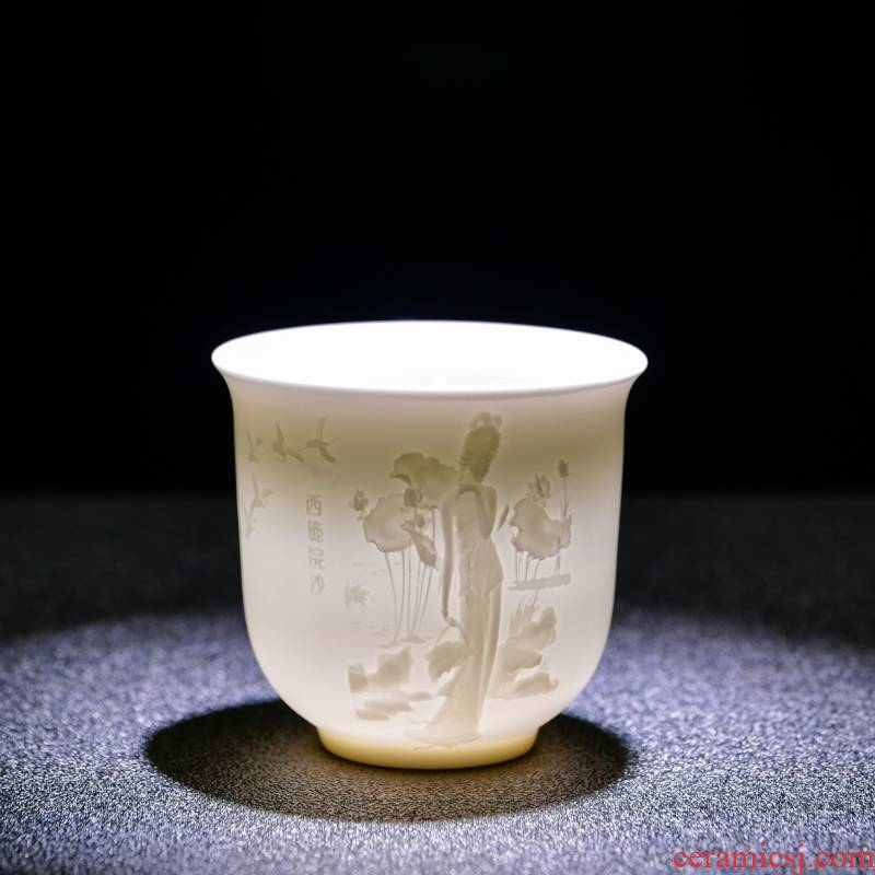 Heart sutra cup of dehua white porcelain its kung fu tea cups custom biscuit firing jade porcelain cup master cup single cup size