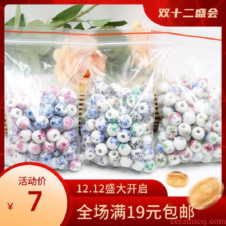 Jingdezhen ceramic decals name plum flower peony flower beads porcelain beads 10 mm bead five big mail eye Chinese knot