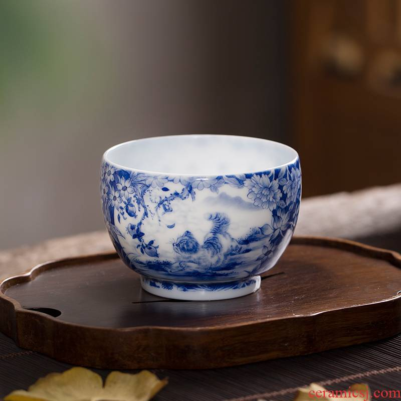 The Owl up jingdezhen porcelain tea set high checking ceramic white clay glaze heavy flower is open the window a cat boring masters cup