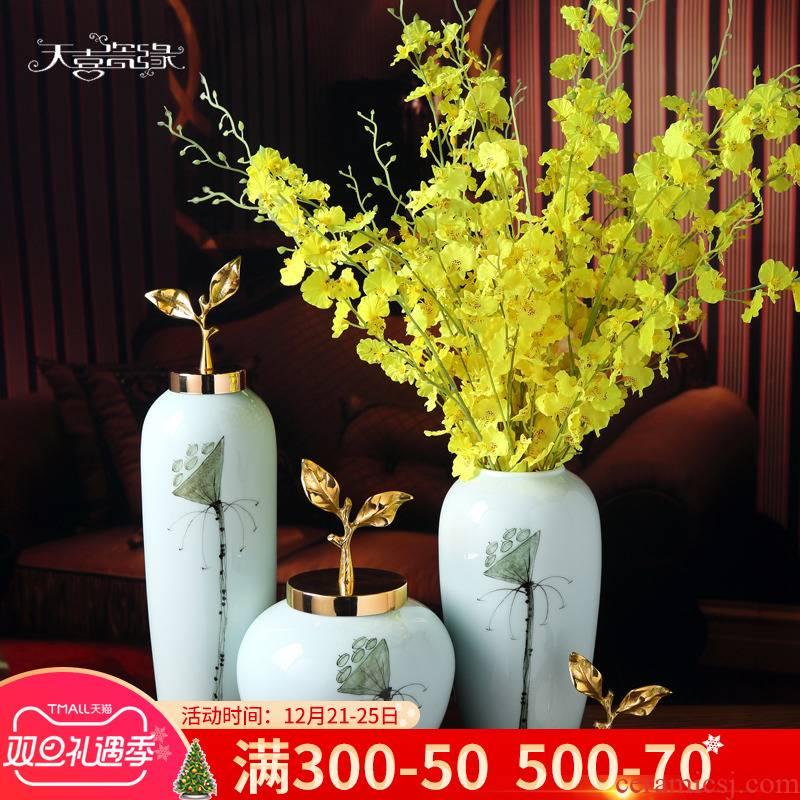 Modern new Chinese style ceramic vase furnishing articles sitting room hall table, TV ark, flower arrangement, household soft adornment