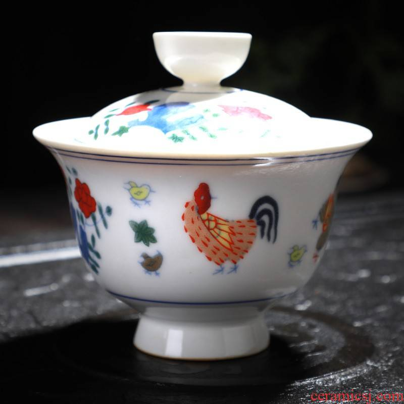 Hui shi restoring ancient ways do old tureen chicken ceramic cylinder cup tea tureen large three bowl only worship kung fu tea cups