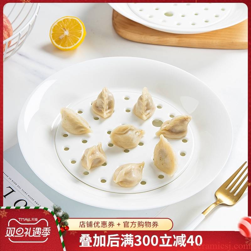 Jingdezhen porcelain ipads dumplings home round fruit plate plate plate plate tableware ceramic double drop dumplings plate