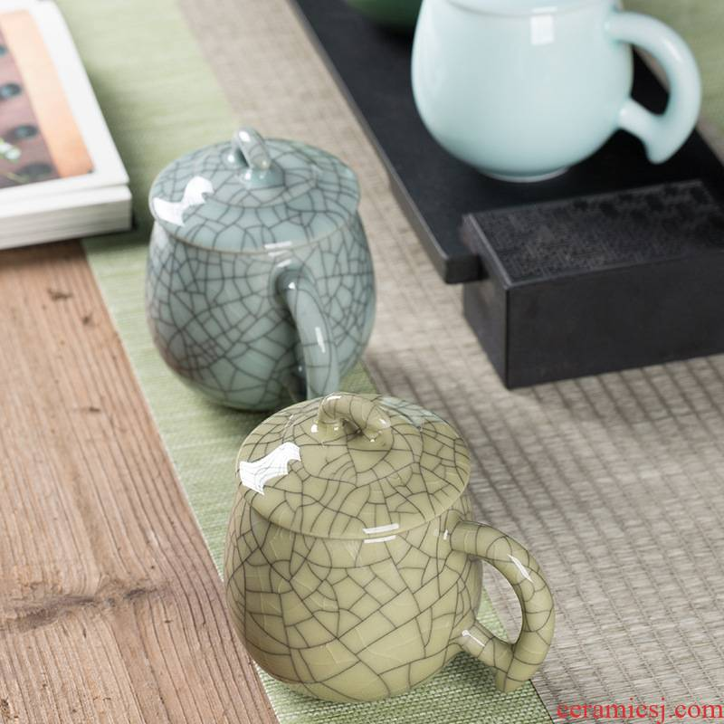 Longquan celadon office make tea cup ceramic keller cup with cover special personal business gift giving water in a cup