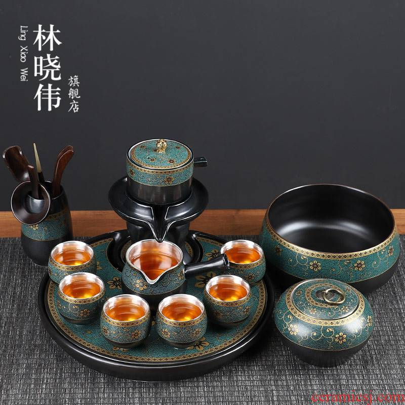 Tasted silver gilding the old section of kung fu tea set suit, black pottery mud household ceramics lazy people prevent hot stone mill automatically make tea cups