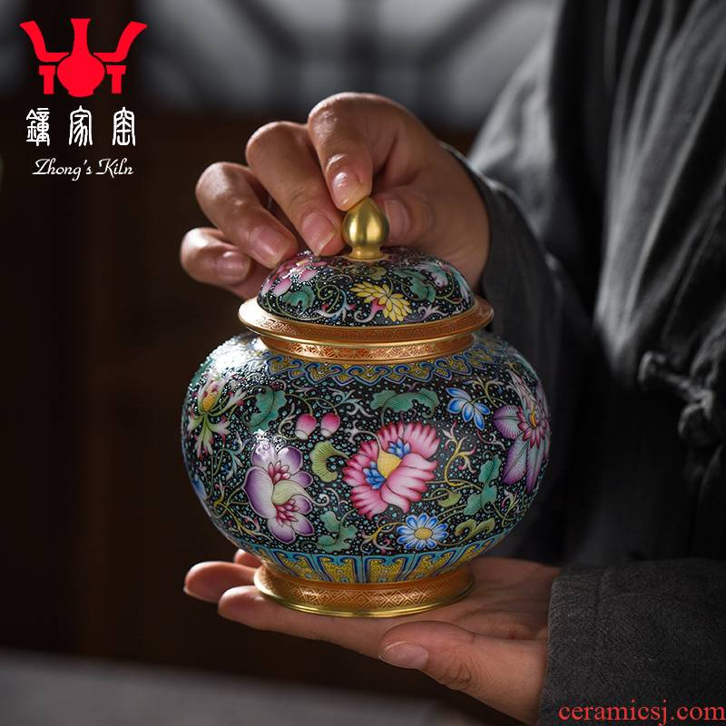 Clock home up caddy fixings seal pot boutique high - end collection of jingdezhen ceramics enamel colors branch lines caddy fixings