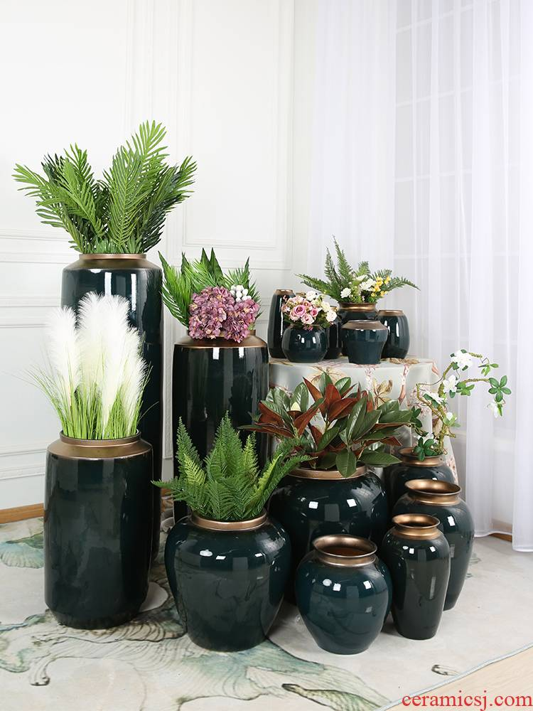 Jingdezhen ceramics European I and contracted POTS dry flower arranging flowers sitting room of large vase lucky bamboo furnishing articles